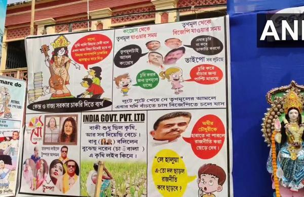 Ahead of West Bengal Assembly polls, political cartoons adorn Saraswati Puja pandal
