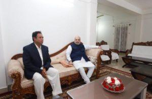 Home Minister Amit Shah visits Koch-Rajbongshi leader Ananta Roy at his residence in Assam