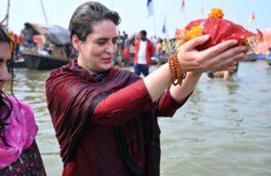 Priyanka Gandhitakes holy dip in Sangam on Mauni Amavasya, performs puja