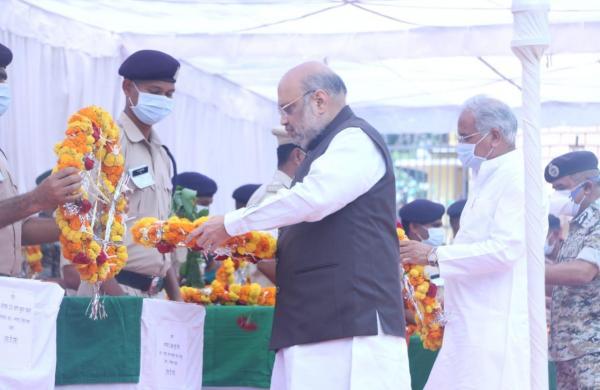 Amit Shah, Chhattisgarh CM Bhupesh Baghel pay tributes to jawans killed in Maoist ambush