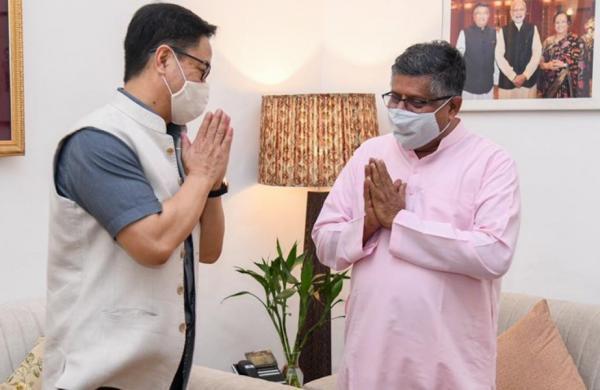 New Law minister Kiren Rijiju meets predecessor Ravi Shankar Prasad