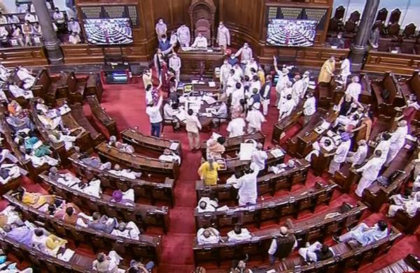 Rajya Sabha proceedings adjourned again till 2 pm as Opposition creates uproar overPegasus row