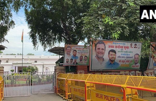 Posters welcoming Kanhaiya Kumar outside Congress officebefore his joining