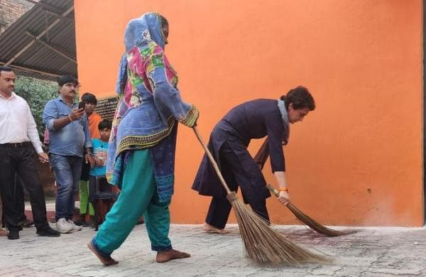 Priyanka picks up broom in Dalit hamlet as Yogi says people have made Congress worth doing that only